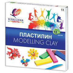 """Пластилин классический ЛУЧ """"Классика"""", 12 цветов, 240 г, со стеком, картонная упаковка, 7С331-08"""