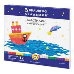 Пластилин классический BRAUBERG, 12 цветов, 240 г, со стеком, картонная упаковка, 103256