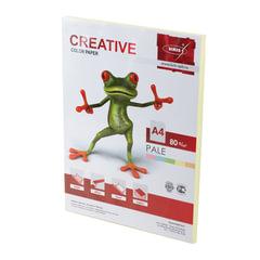 Бумага CREATIVE color (Креатив) А4, 80 г/м2, 100 л., пастель желтая