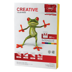 Бумага CREATIVE color (Креатив) А4, 80 г/м2, 100 л., интенсив желтая