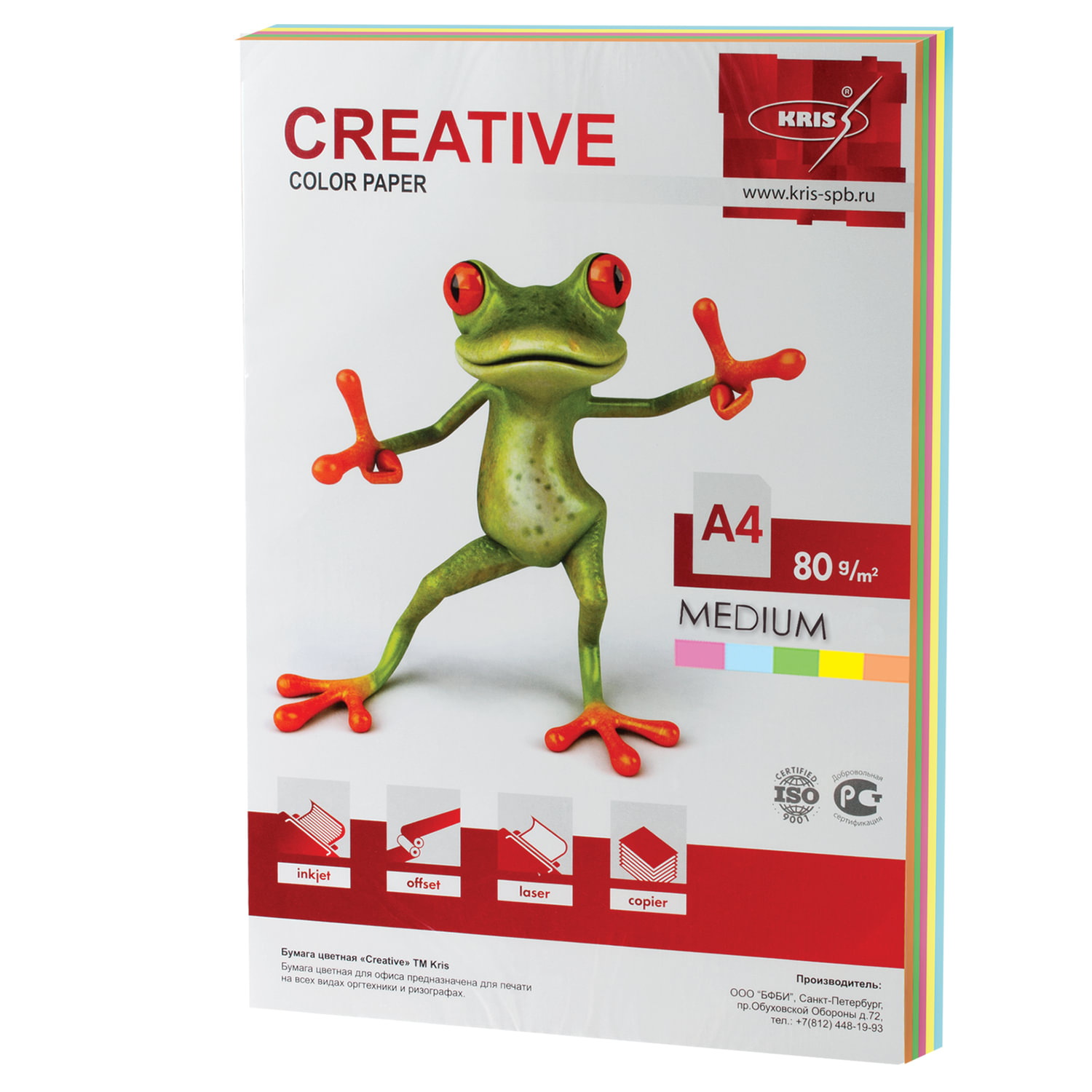Бумага CREATIVE color (Креатив) А4, 80 г/м2, 100 л., (5 цв.х20 л.), цветная медиум