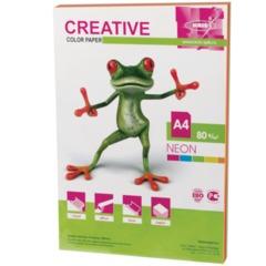 Бумага CREATIVE color (Креатив) А4, 80 г/м2, 50 л., (5 цв.х10 л.) цветная неон