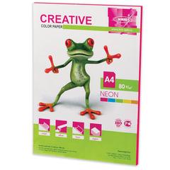 Бумага CREATIVE color (Креатив) А4, 80 г/м2, 50 л., неон, малиновая