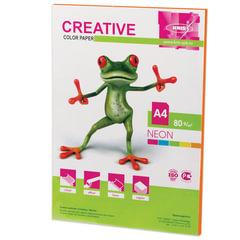 Бумага CREATIVE color (Креатив) А4, 80 г/м2, 50 л., неон, оранжевая