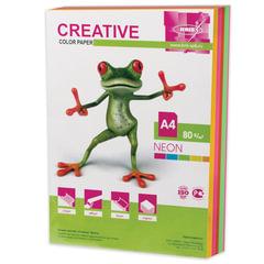 Бумага CREATIVE color (Креатив) А4, 80 г/м2, 250 л., (5 цв.х50 л.) цветная неон