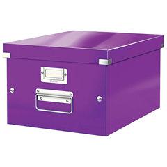 """Короб архивный LEITZ """"Click & Store"""" M, 200х280х370 мм, ламинированный картон, разборный, фиолетовый"""