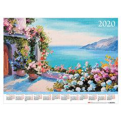 """Календарь, А2, 2020 год, 45х60 см, горизонтальный, """"Цветочных красок акварель"""", HATBER, Кл2_17102"""
