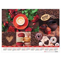 """Календарь А2 2020 г, 45х60 см, горизонтальный, """"Coffee Time"""", HATBER, Кл2_22049"""