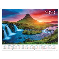 """Календарь А2 2020 г, 45х60 см, горизонтальный, """"Закат в горах"""", HATBER, Кл2_20727"""