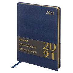 """Ежедневник датированный 2021 БОЛЬШОЙ ФОРМАТ (210х297 мм) А4, BRAUBERG """"Iguana"""", кожзам, синий, 111421"""