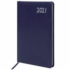 "Еженедельник датированный 2021 А5 (145х215 мм) BRAUBERG ""Profile"", балакрон, синий, 111541"