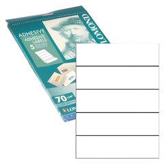 Этикетка самоклеящаяся 210х57 мм, 5 этикеток, белая, для папок-регистраторов, 70 г/м2, 50 листов, LOMOND, 2100245