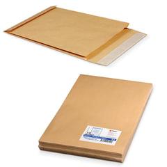 Конверт-пакеты В4 объемный (250х353х40 мм), до 300 листов, крафт-бумага, отрывная полоса, КОМПЛЕКТ 25 шт.