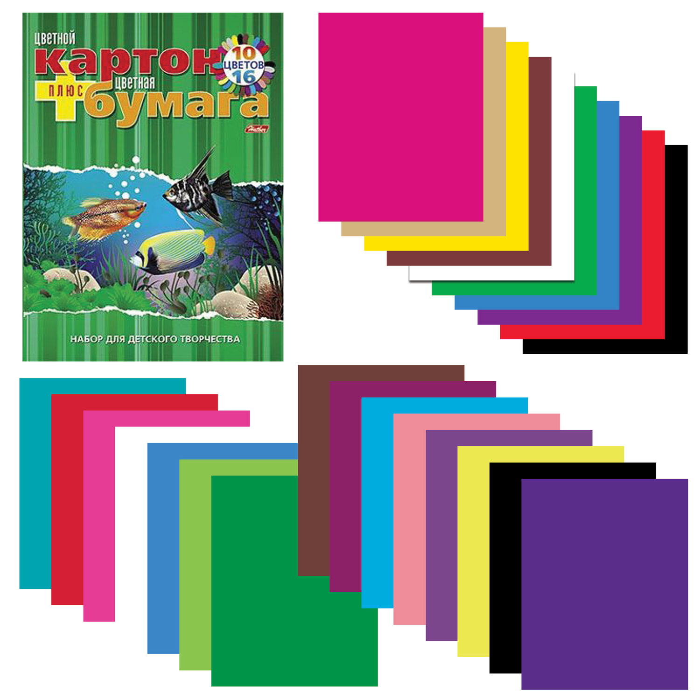 Набор цветного картона и бумаги А4 немелованной, 10+16 цветов склейка HATBER VK, 195х275 мм, Аквариум, 26НКБ4к_09572