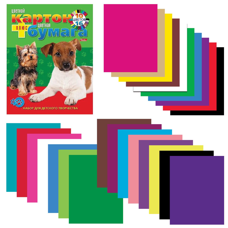 Набор цветного картона и бумаги А4 немелованные, 16 + 10 цветов склейка HATBER VK, 195х275 мм, Щенки, 26НКБ4к 05284