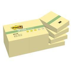 Блоки самоклеящиеся (стикеры) POST-IT Optima, комплект 12 шт., 38х51 мм, 100 л., желтый, 653-OY