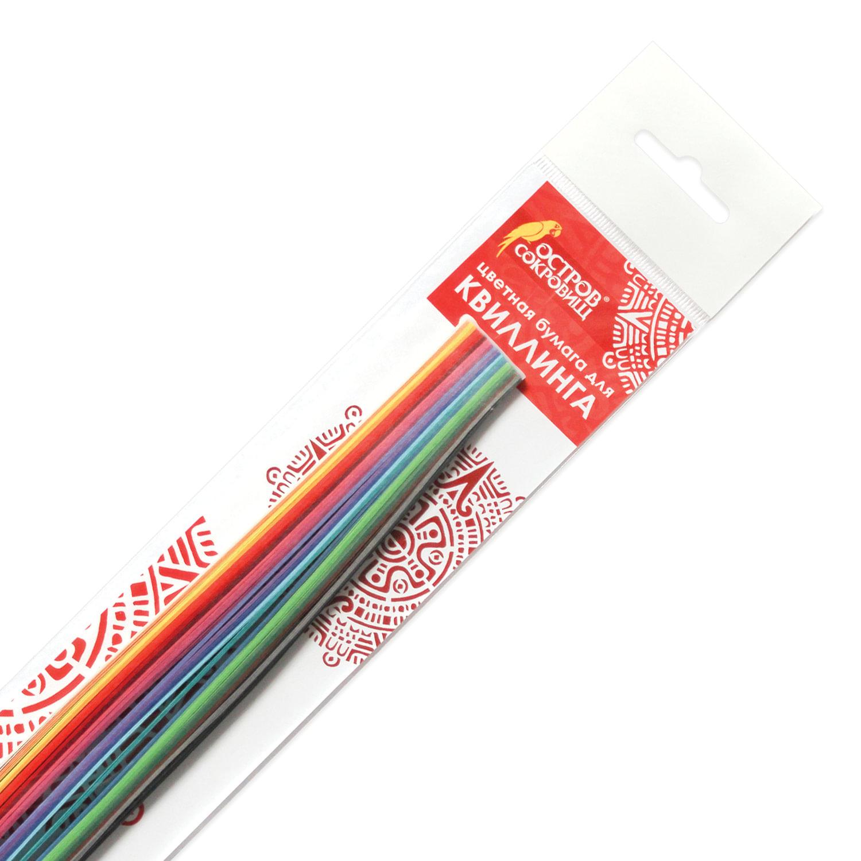 """Бумага для квиллинга """"Цветная глазурь"""", 24 цвета, 120 полос, 3 мм х 300 мм, 130 г/м2, ОСТРОВ СОКРОВИЩ, 128735"""
