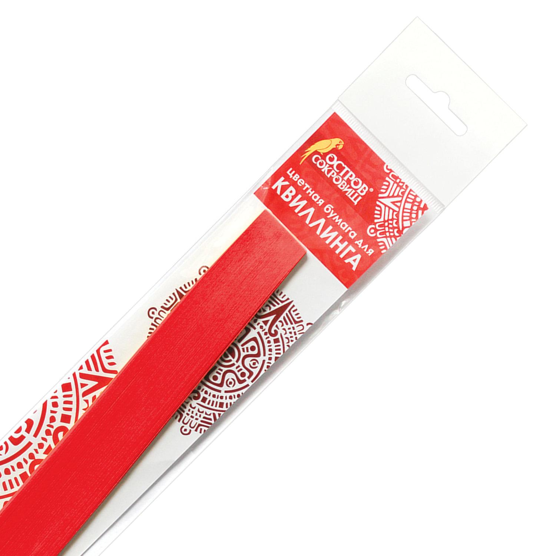 Бумага для квиллинга красная, 125 полос, 3 мм х 300 мм, 130 г/м2, ОСТРОВ СОКРОВИЩ, 128758