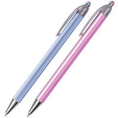 """Ручка шариковая автоматическая BRAUBERG """"Sakura"""", корпус ассорти, узел 0,5 мм, линия 0,3 мм, синяя"""
