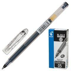 """Ручка гелевая PILOT """"Super Gel"""", ЧЕРНАЯ, корпус прозрачный, узел 0,5 мм, линия письма 0,3 мм"""