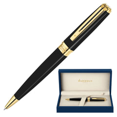 """Ручка подарочная шариковая WATERMAN """"Exception Black GT Slim"""", черный лак, позолоченные детали, синяя, S0636960"""