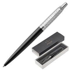"""Ручка подарочная шариковая PARKER """"Jotter Premium Bond Street Black Grid CT"""", черный корпус, гравировка, хром, синяя, 1953195"""