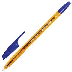 """Ручка шариковая BRAUBERG """"X-333"""" AMBER, СИНЯЯ, корпус тонированный оранжевый, узел 0,7 мм, линия письма 0,35 мм"""