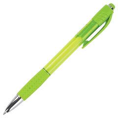 Ручка шариковая автоматическая с грипом BRAUBERG SUPER, СИНЯЯ, корпус зеленый, пишущий узел 0,7 мм, линия письма 0,35 мм, 143370
