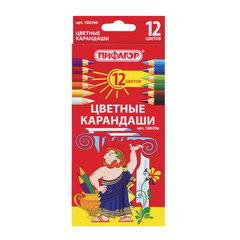 Карандаши цветные ПИФАГОР, 12 цветов, классические, заточенные, картонная упаковка, 180296