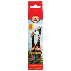 """Карандаши цветные KOH-I-NOOR """"Animals"""", 6 цветов, грифель 2,8 мм, заточенные, европодвес, 3551/6"""