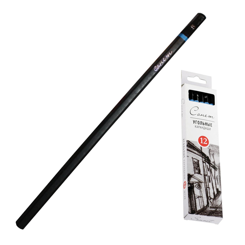 """Уголь натуральный для рисования """"Сонет"""", набор 12 шт., мягкий, 12841430-S"""