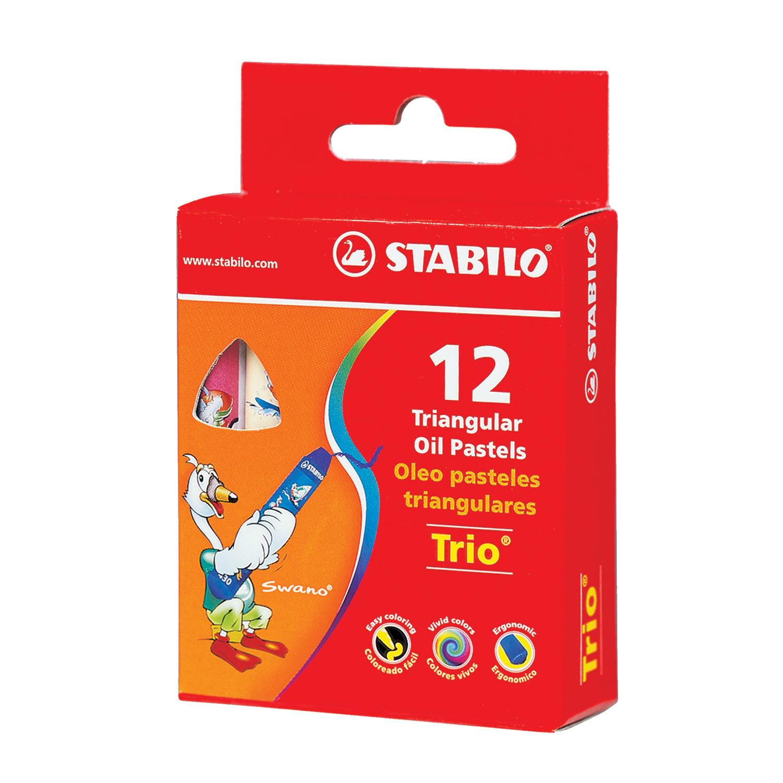 """Восковые мелки утолщенные STABILO """"Trio"""", на масляной основе, трехгранные, 12 цветов, европодвес, 2612"""