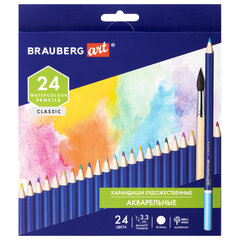 Карандаши художественные цветные акварельные BRAUBERG ART CLASSIC, 24 цвета, грифель 3,3 мм, 181530