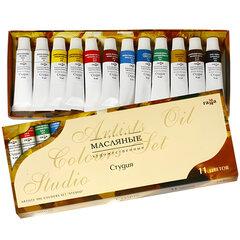 """Краски масляные художественные ГАММА """"Студия"""", НАБОР 10 цветов по 9 мл + 2 белых цвета, в тубах, 203007"""