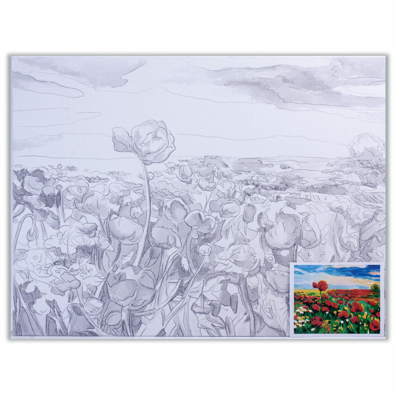 Холст на картоне с контуром BRAUBERG ART CLASSIC, МАКИ, 30х40см, грунтованный, 100% хлопок, 190629