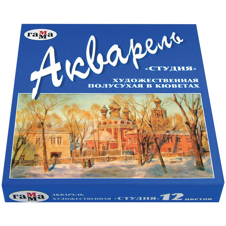 """Краски акварельные художественные ГАММА """"Студия"""", 12 цветов, кювета 2,5 мл, картонная коробка, 215002"""
