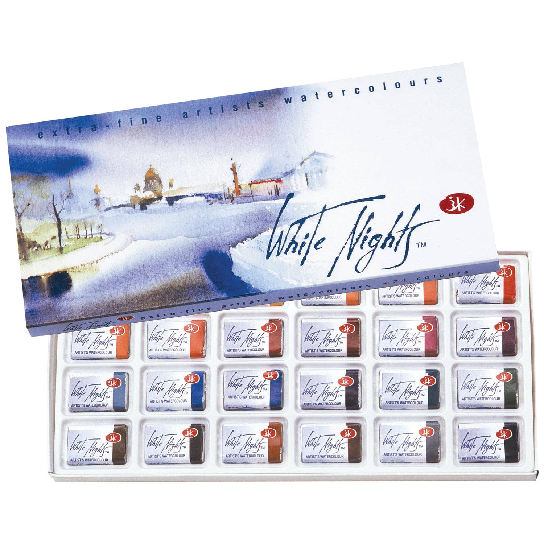 """Краски акварельные художественные """"Белые ночи"""", 24 цвета, кювета 2,5 мл, картонная коробка, 1941061"""