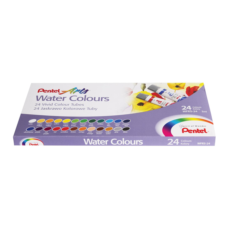 """Краски акварельные художественные PENTEL """"Water Colours"""", НАБОР 24 цвета, туба 5 мл, картонная упаковка, WFRS-24"""