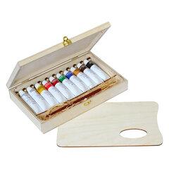 """Краски масляные художественные ГАММА """"Студия"""", НАБОР 10 цветов по 18 мл, в тубах, кисть, деревянный короб, 100620202"""