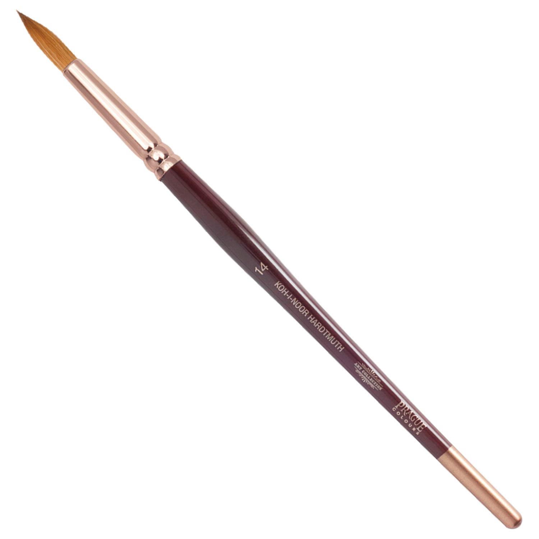 Кисть художественная KOH-I-NOOR колонок, круглая, №14, короткая ручка, блистер, 9935014010BL