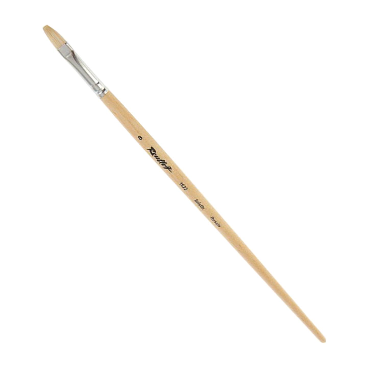 Кисть художественная ROUBLOFF (Рублев) щетина, овальная, № 8, длинная ручка, ЖЩ3-08,02Б