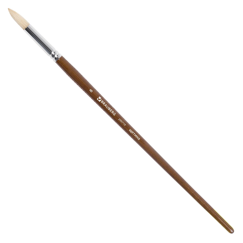 Кисть художественная профессиональная BRAUBERG ART CLASSIC, щетина, круглая, № 8, длинная ручка
