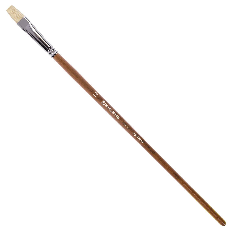Кисть художественная профессиональная BRAUBERG ART CLASSIC, щетина, плоская, № 12, длинная ручка