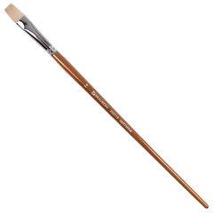 Кисть художественная профессиональная BRAUBERG ART CLASSIC, щетина, плоская, № 14, длинная ручка