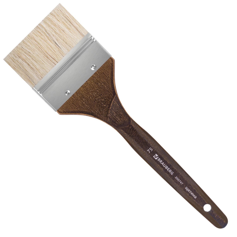 """Кисть художественная профессиональная BRAUBERG ART """"CLASSIC"""", щетина, флейц, № 75, короткая ручка, 200747"""