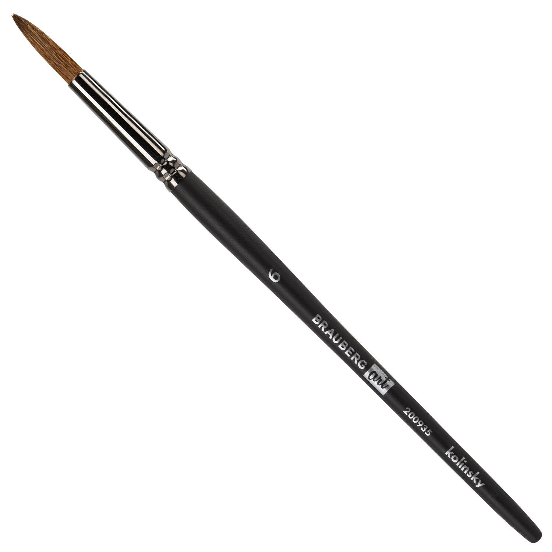 Кисть художественная проф. BRAUBERG ART CLASSIC, колонок, круглая, № 6, короткая ручка, 200935