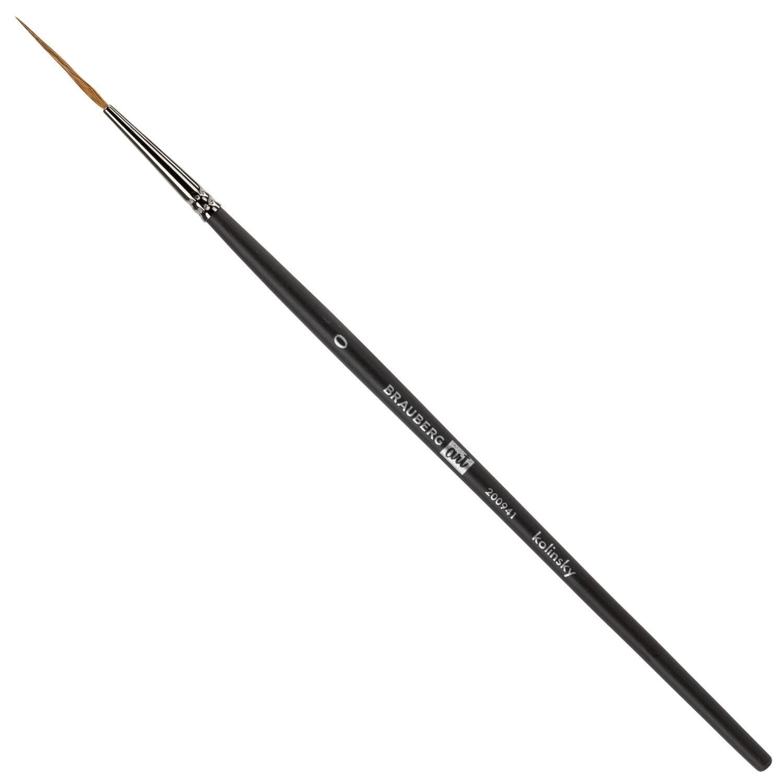 Кисть художественная проф. BRAUBERG ART CLASSIC, колонок, лайнер, № 0, короткая ручка, 200941