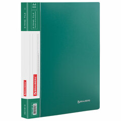 "Папка на 2 кольцах BRAUBERG ""Стандарт"", 25 мм, зеленая, до 170 листов, 0,8 мм, 221613"