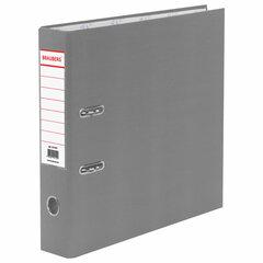 Папка-регистратор BRAUBERG с покрытием из ПВХ, 70 мм, серая (удвоенный срок службы), 221819