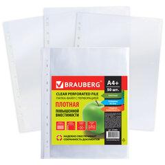 Папки-файлы перфорированные А4+ BRAUBERG, КОМПЛЕКТ 50 шт., гладкие, ПЛОТНЫЕ, 60 мкм, 223084